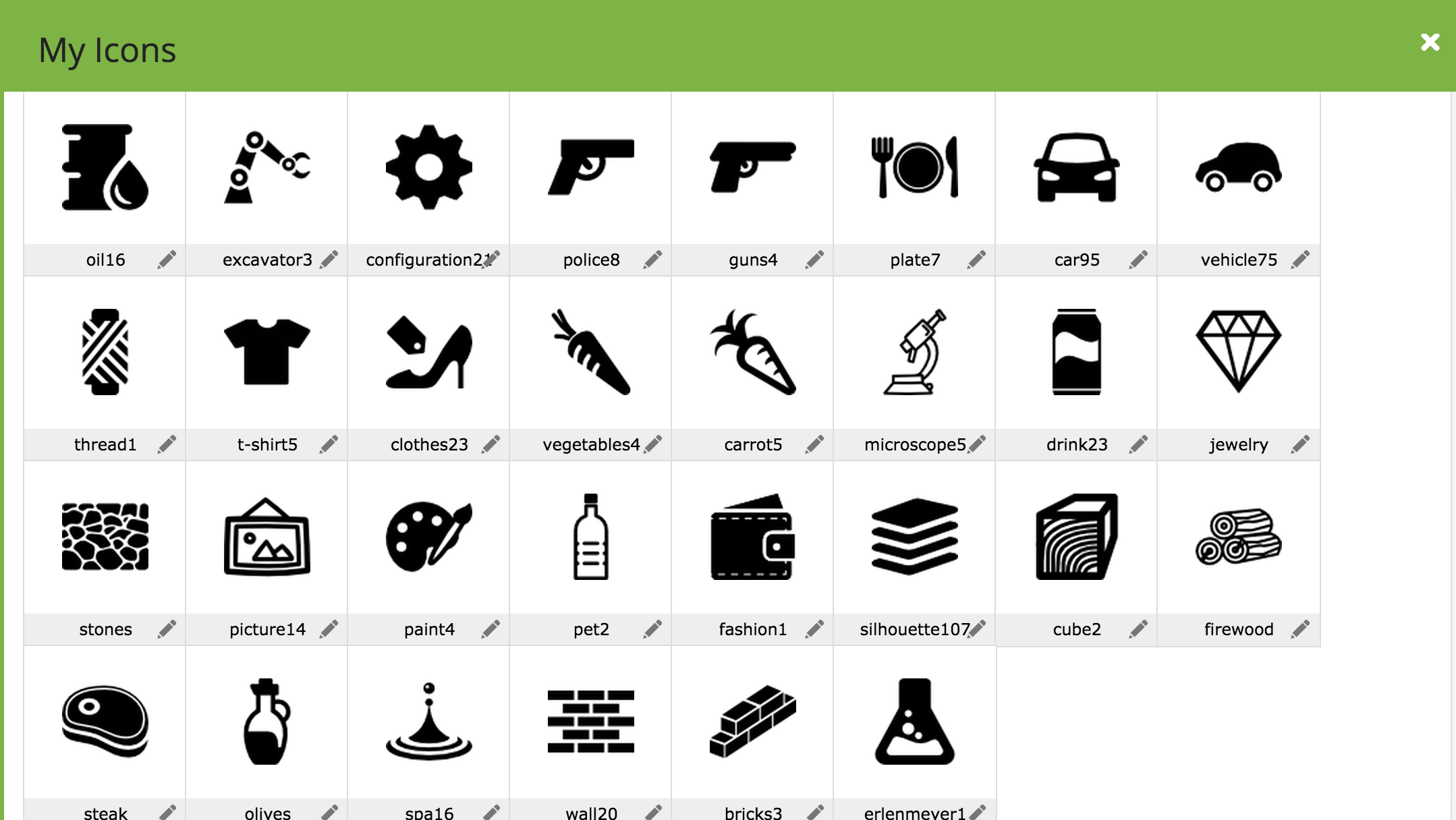 My Flaticon selection for the treemap. For some categories I selected multiple icons, to see which ones worked best.